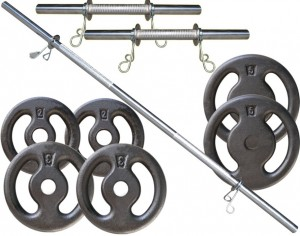 Kit 20Kg de Anilhas + Barras de 1,20cm e 2 de 40cm Maciças Cromadas c/ Recartilho para Musculação. Menor Preço | Fitness Prado