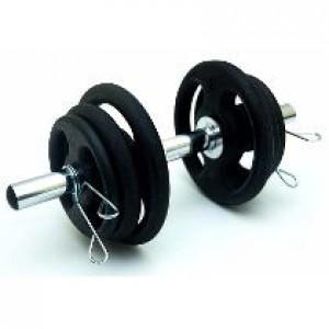 Foto2 - Kit Musculação 12kg com 1 barra de 40cm c/presilhas