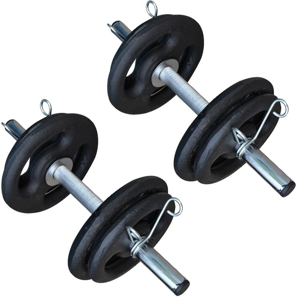 Foto2 - 2 Barra de 40cm Cromada c/ Presilhas e Recartilho para colocação de Pesos / Anilhas - Fitness Prado