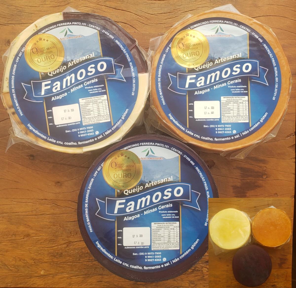 Foto 1 - TRIO MAGNÍFICO - 3 queijos artesanais ALAGOA - DEFUMANDO, AO VINHO E 4 SABORES - 1 KG cada peça