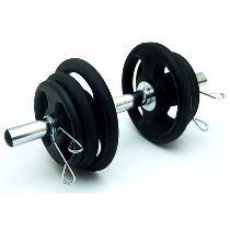 Foto2 - Kit Musculação 1 Barra c/ presilhas + 12 kg de anilhas