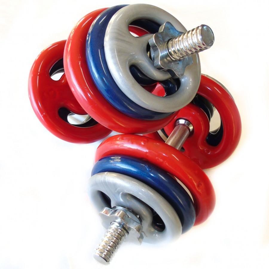 Foto 1 - Kit musculação 24kg c/2 barras de 40cm c/Rosca
