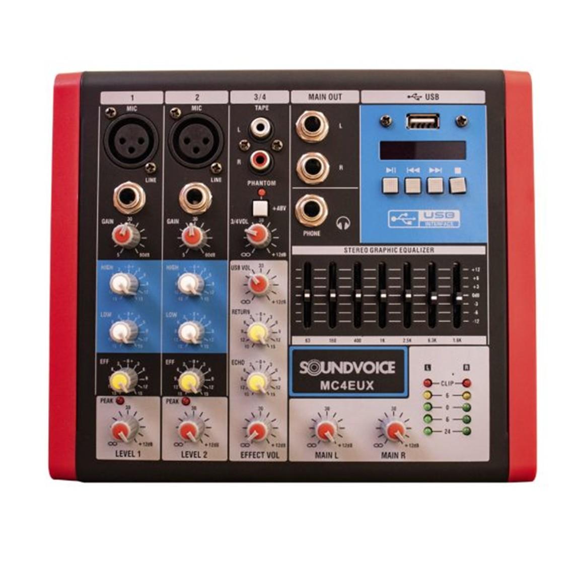 Imagem do produto Mesa de Som Compacta Soundvoice 4 Canais MC-4 EUX