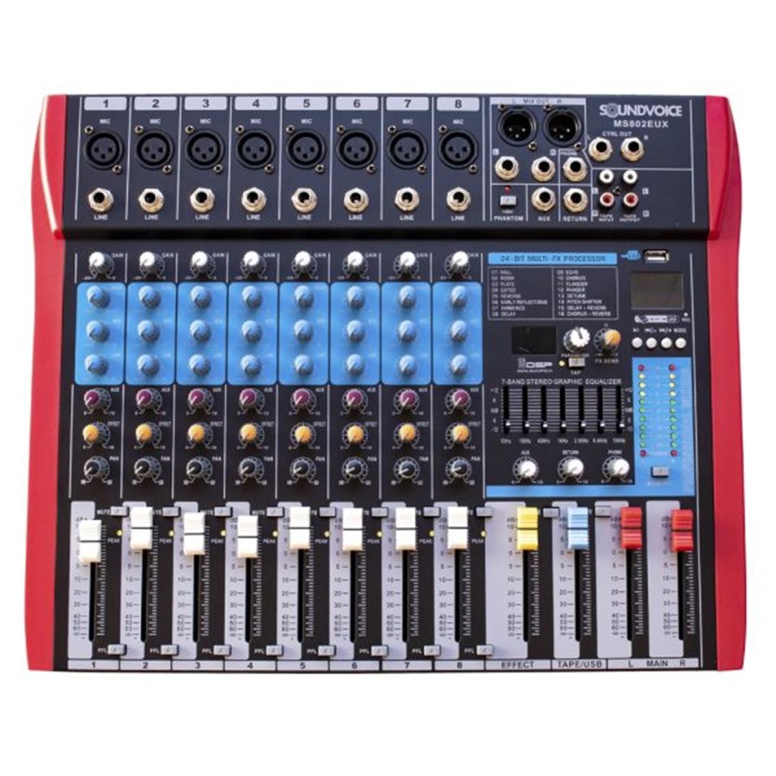 Imagem do produto Mesa de Som Soundvoice 8 Canais MS-802 EUX