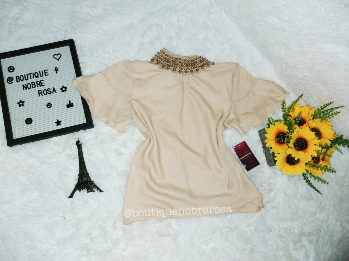 Foto2 - Blusas Manguinha com detalhes em perolas Variadas