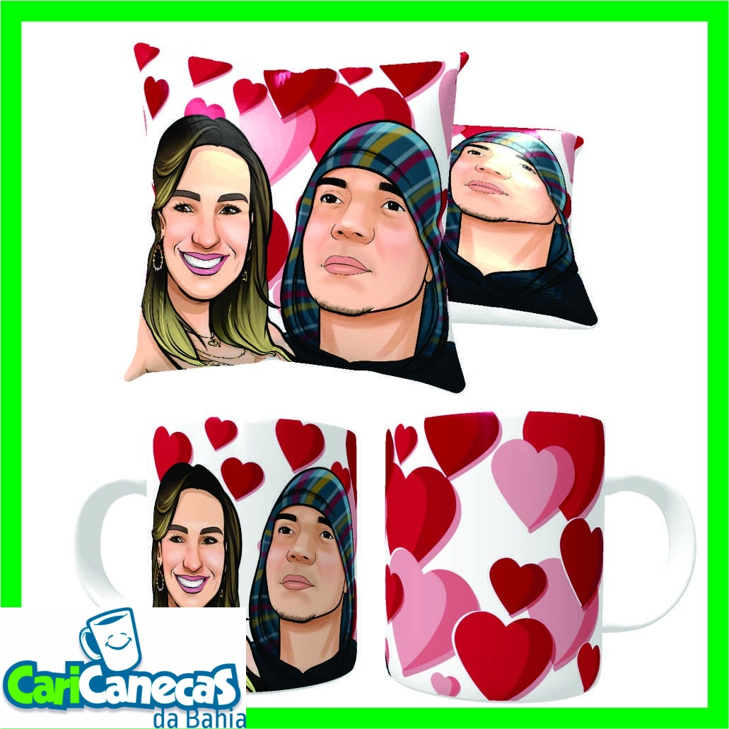 Foto 1 - 02 Almofada + 02 Canecas de Café + Caricatura Casal