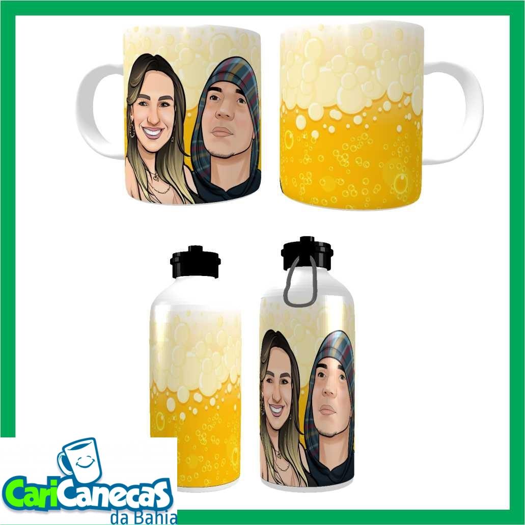 Foto 1 - 02 Squeezes + 02 Caneca de Café +Caricatura Casal