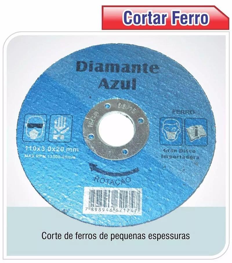 Foto 1 - DISCO DIAMANTE (CORTA FERRO) 110X1,0MM C/FURO 20MM DIAMANTE AZUL