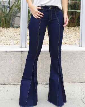 Calça Jeans - Maxi-Flare - Lavagem escura