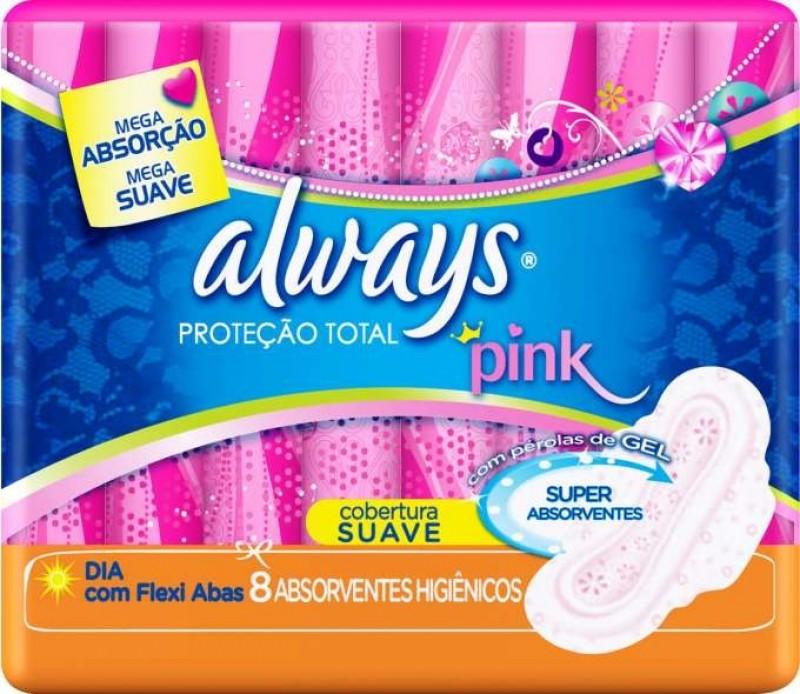 Foto 1 - Absorvente Always Proteção Total Pink Cobertura Suave C/Abas 8Unidades