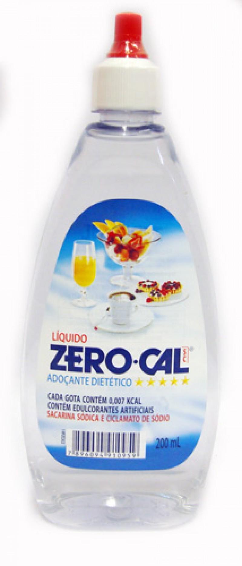 Foto 1 - Adoçante Dietético Líquido Zerocal Ciclamato de Sódio e Sacarina Sódica Gotas 200ml