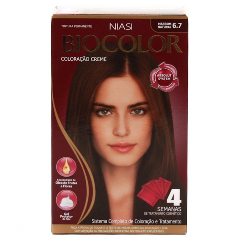 Foto 1 - Tintura Biocolor Niase Creme Kit Marrom Natural 6.7
