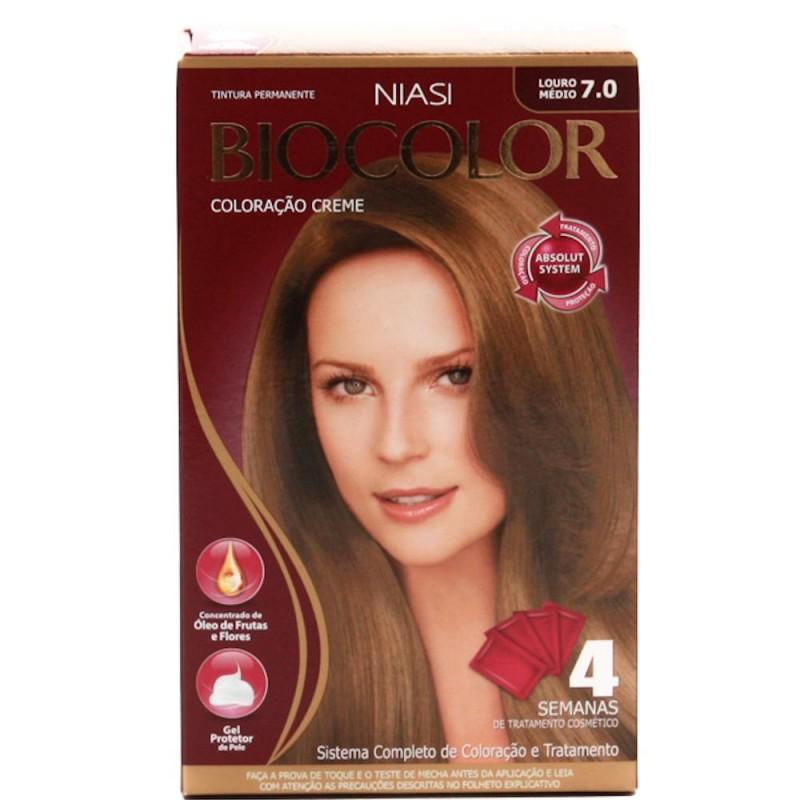 Foto 1 - Tintura Biocolor Niase Creme Kit Louro Médio 7.0