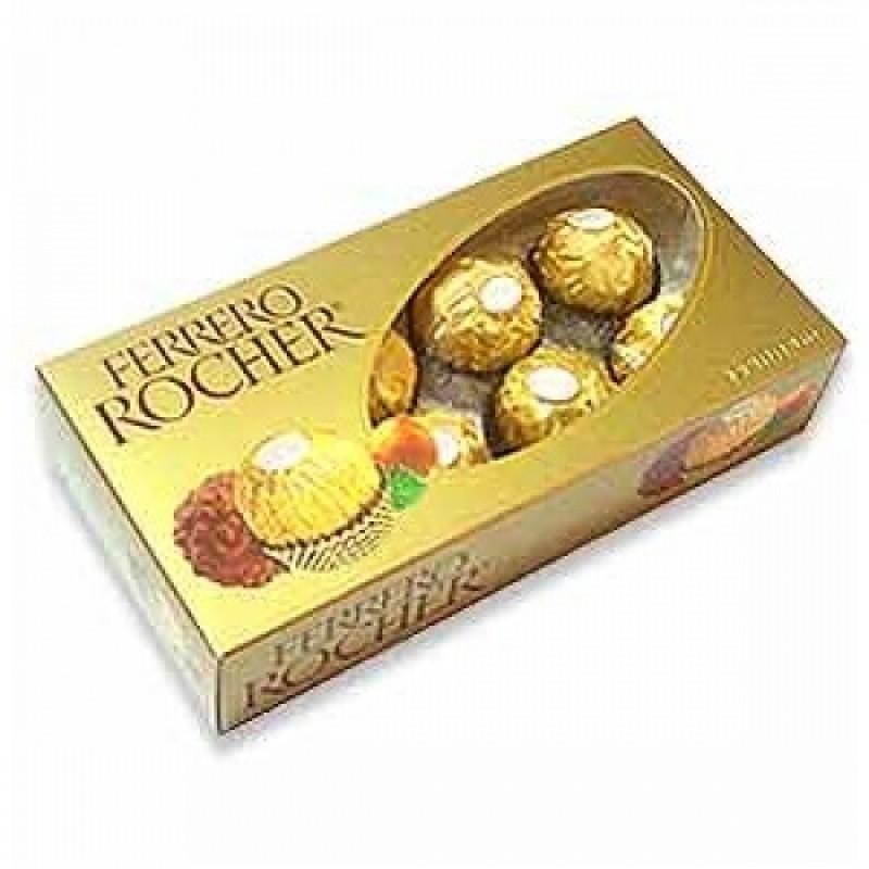 Foto 1 - Bombons Ferrero Rocher Coberto com Chocolate ao Leite e Pedaços de Avelã com Recheio Cremoso e Avelã Inteira Caixa de Acrílico com 8 Unidades