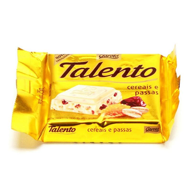 Foto 1 - Chocolate Garoto Talento Chocolate Branco com Cereais Crocantes e Uvas Passas 100g