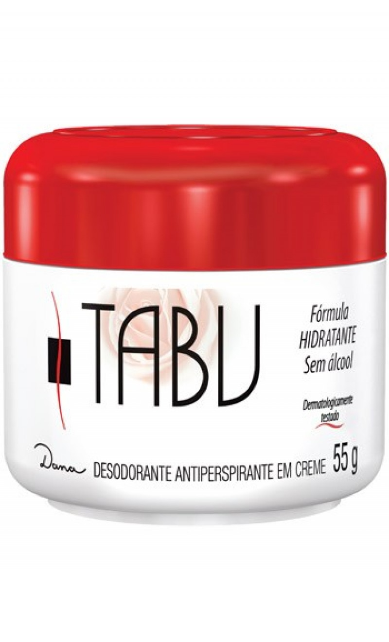 Foto 1 - Desodorante Antiperspirante em Creme Tabu Fórmula Hidratante Sem Álcool 55 ml