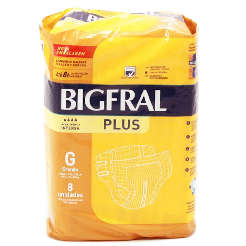 Foto 1 - Fralda Geriátrica Descartável Bigfral Plus Grande com 8 Unidades