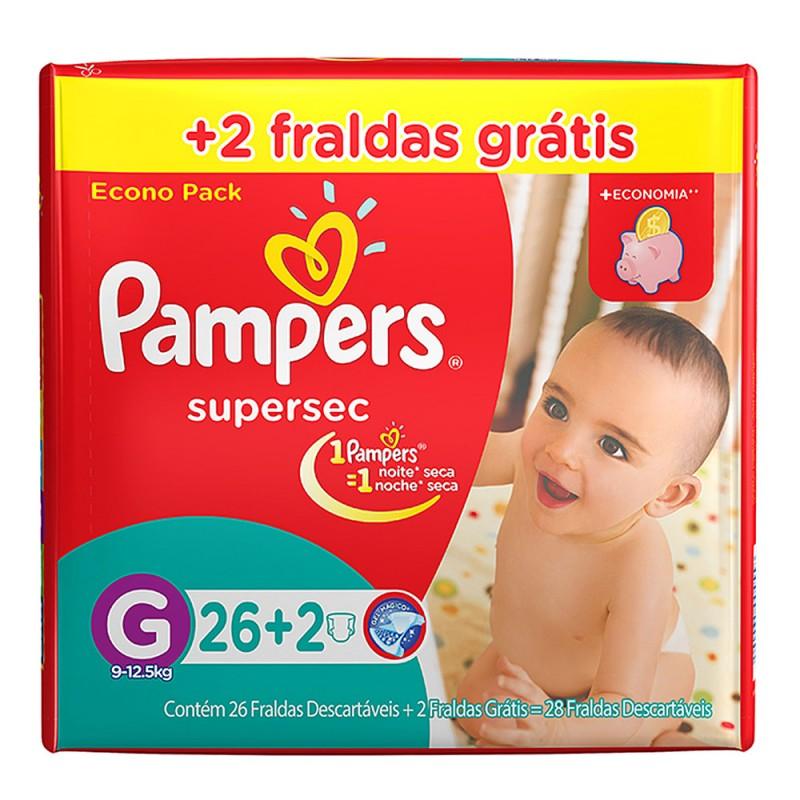 Imagem do produto Fralda Pampers Supersec G c/26 + 2 Unidades