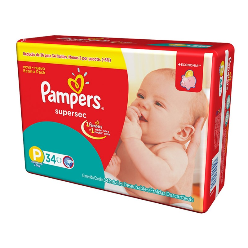 Foto 1 - Fralda Pampers Supersec P c/34 Unidades