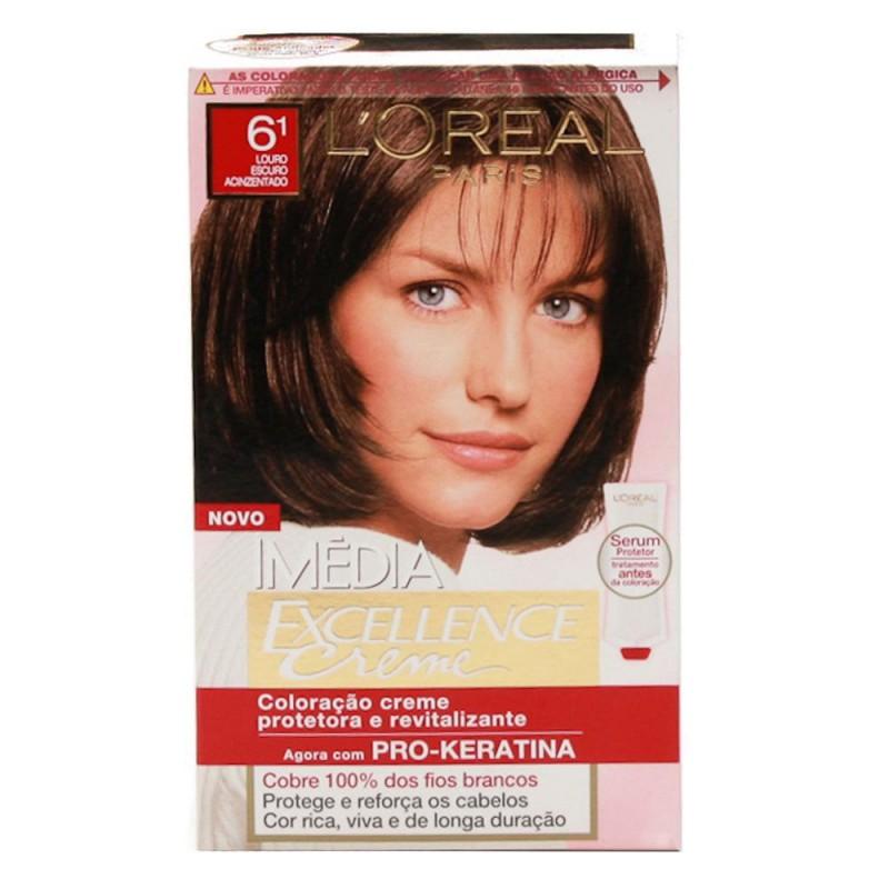 Foto 1 - Tintura Imédia Excellence Creme L'oréal Louro Escuro Acinzentado 6.1
