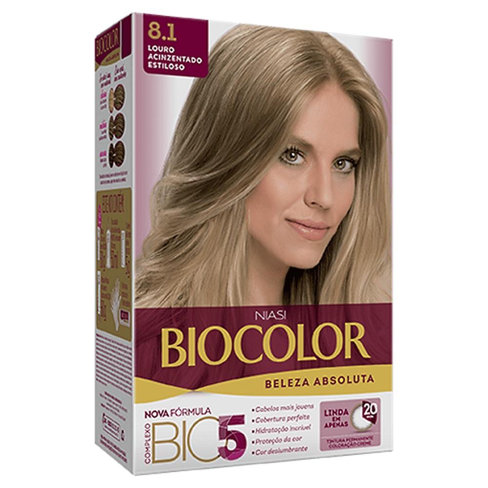Foto 1 - Tintura Biocolor Niase Creme Kit Louro Claro Acinzentado 8.1