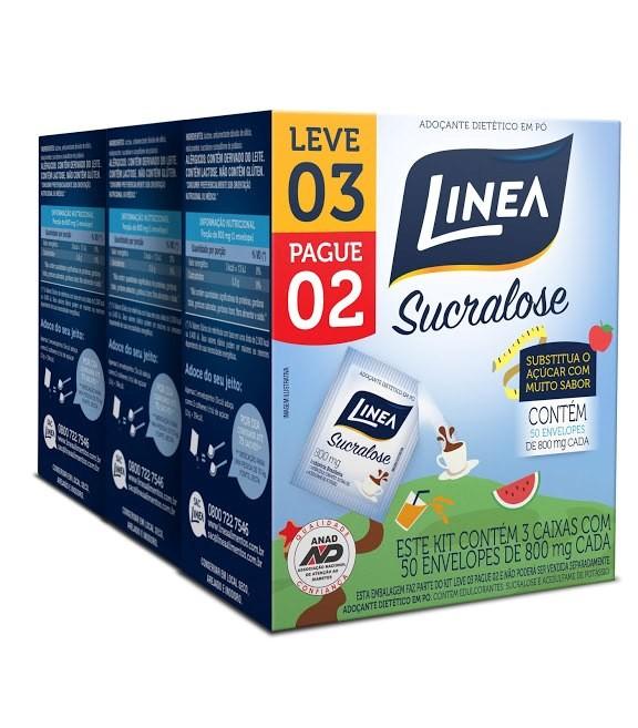 Imagem do produto Adoçante Linea Sucralose Pó 800g 50 Envelopes 3 Caixas