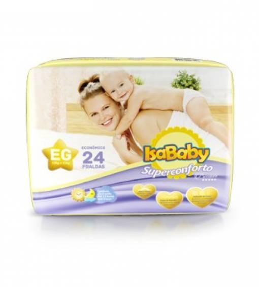 Foto 1 - Fralda Isababy Premium Jumbo Tamanho EG 24unidades