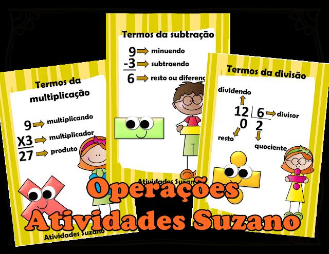 Cartazes operações matemáticas