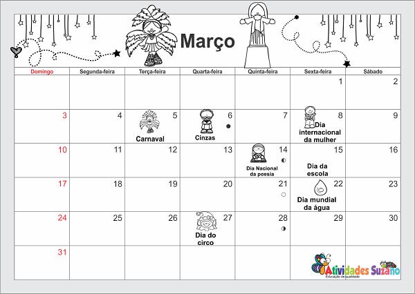 Calendário do mês de março
