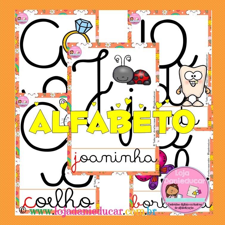 Imagem do produto Alfabeto de parede ilustrado - letra cursiva