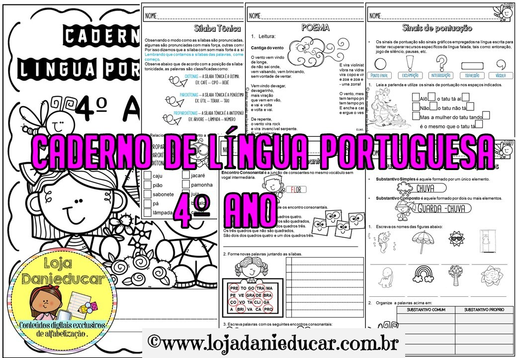 Imagem do produto Caderno de atividades para 4º ano - Língua Portuguesa
