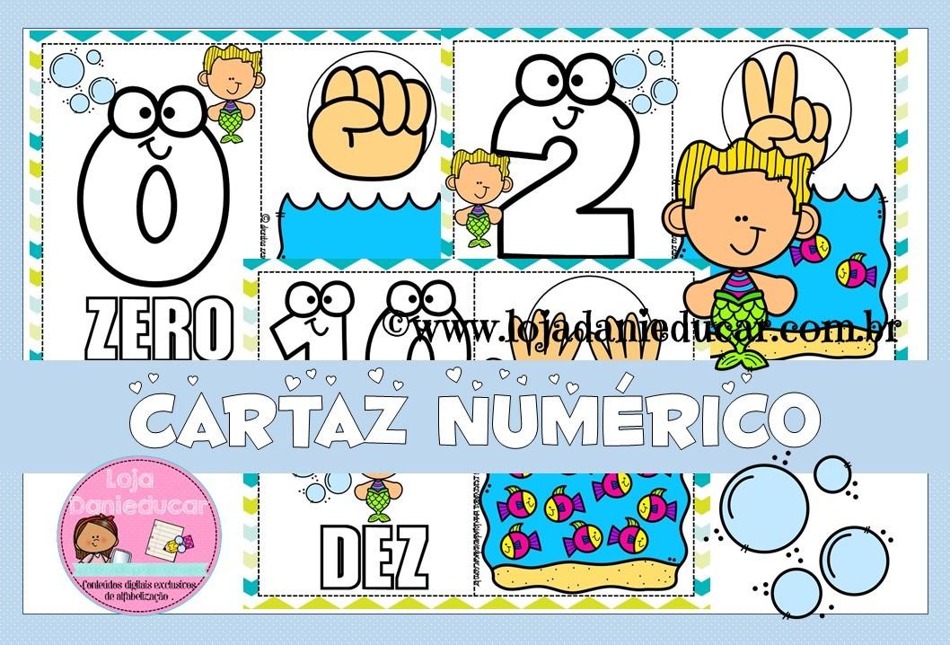 Imagem do produto Cartaz com números 0 ao 10 - fundo do mar
