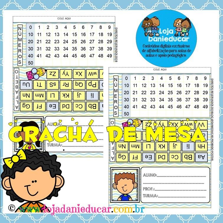 Imagem do produto Crachá de mesa - alfabeto e números