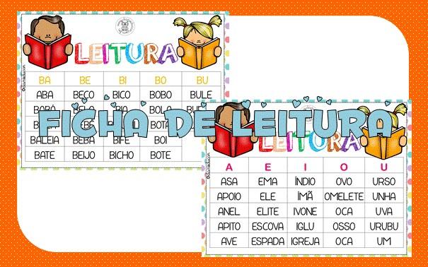 Imagem do produto Fichas de leitura com sílabas simples