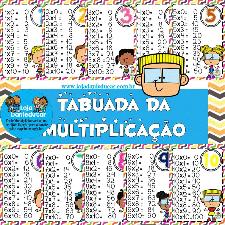 Imagem do produto Tabuada de multiplicação colorida