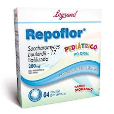 Foto 1 - Repoflor 200mg Uso Pediatrico Pó Oral Sabor Morango C/4 Envelopes