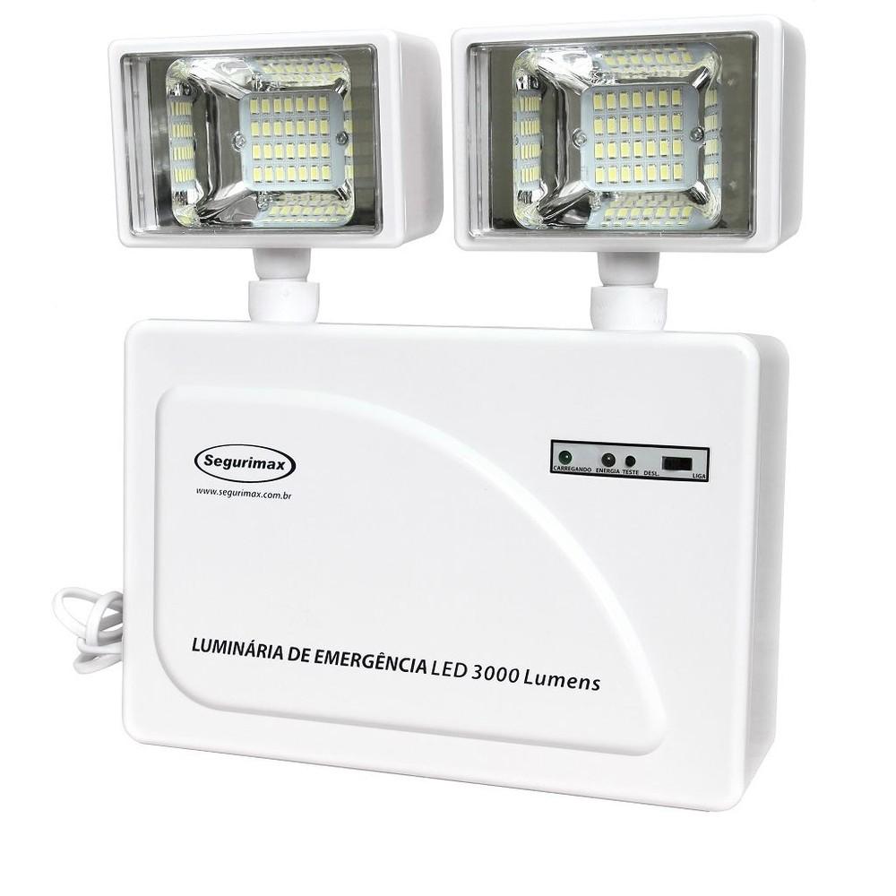 Imagem do produto Iluminação de Emergência Led 3.000 Lumens 2 Faróis - ALTA POTÊNCIA! Área de abrangência: 500m²