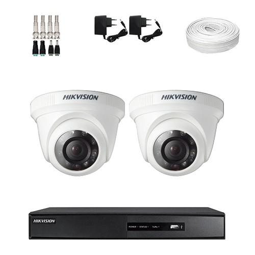 Imagem do produto KIT 2 Câmeras Dome Hikvision + DVR Hikvision 4 Canais HD + Acessórios