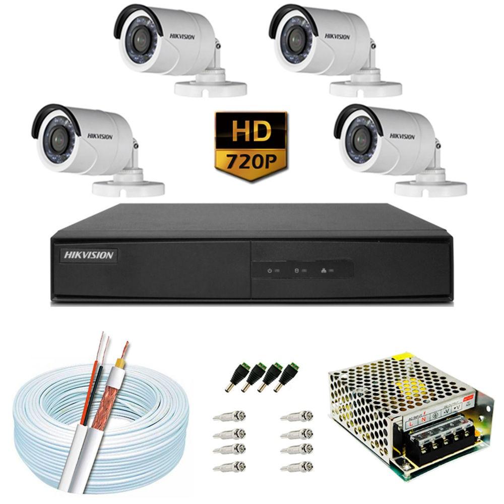 Imagem do produto Kit Cftv de Alta Definição Hikvision Hd-Tvi/Ahd/ HCVI / IP (1280 X 720) Com 4 Câmeras Bullet