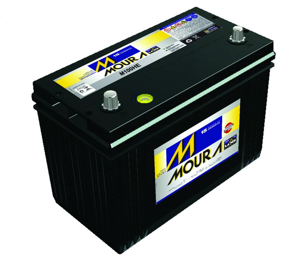 Foto 1 - Bateria Moura 100 Ah - Caixa Alta - Original de Montadora - 15 Meses de Garantia