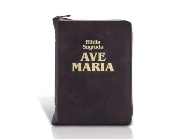 Foto 1 - Biblia Sagrada Com Ziper Marrom Media - Ave Maria