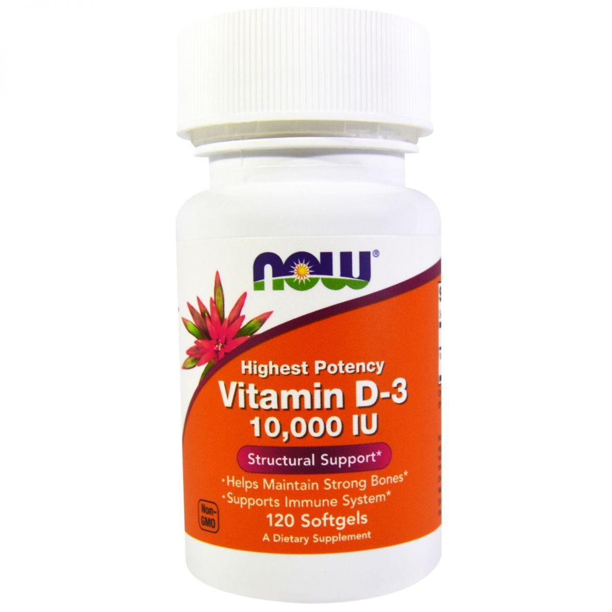 Foto 1 - Vitamina D-3 Now 10.000 Iu (120 Capsulas) - Now Foods