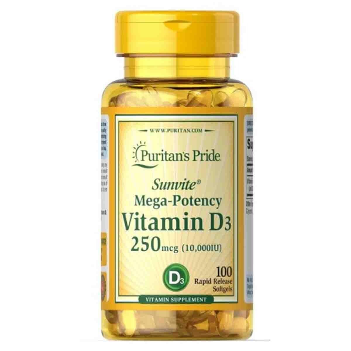 Foto 1 - Vitamina D3 10.000UI (100 Softgels) - Puritan's Pride