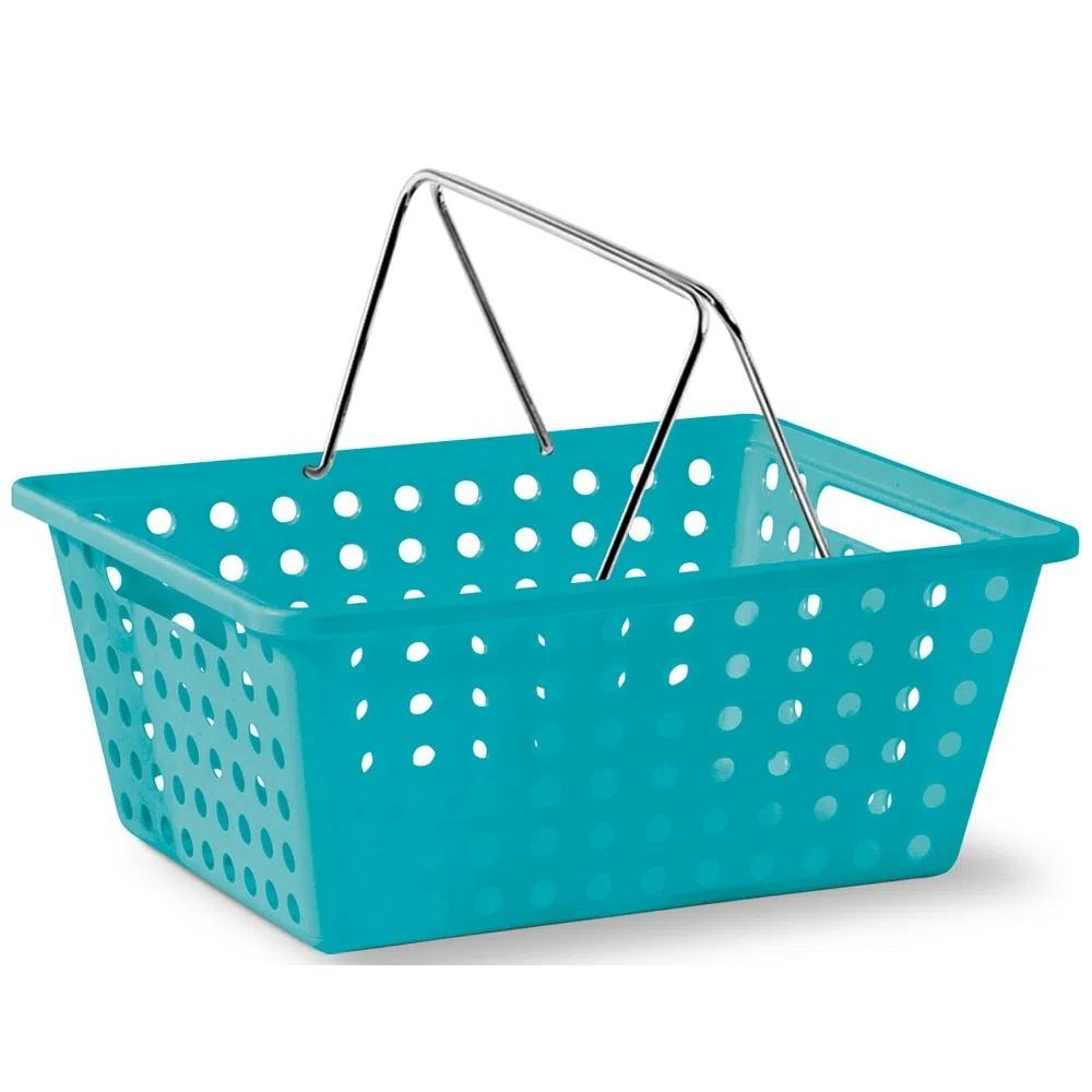 Foto 1 - Cesta plástica p/organizar objetos e acessórios com alça branca