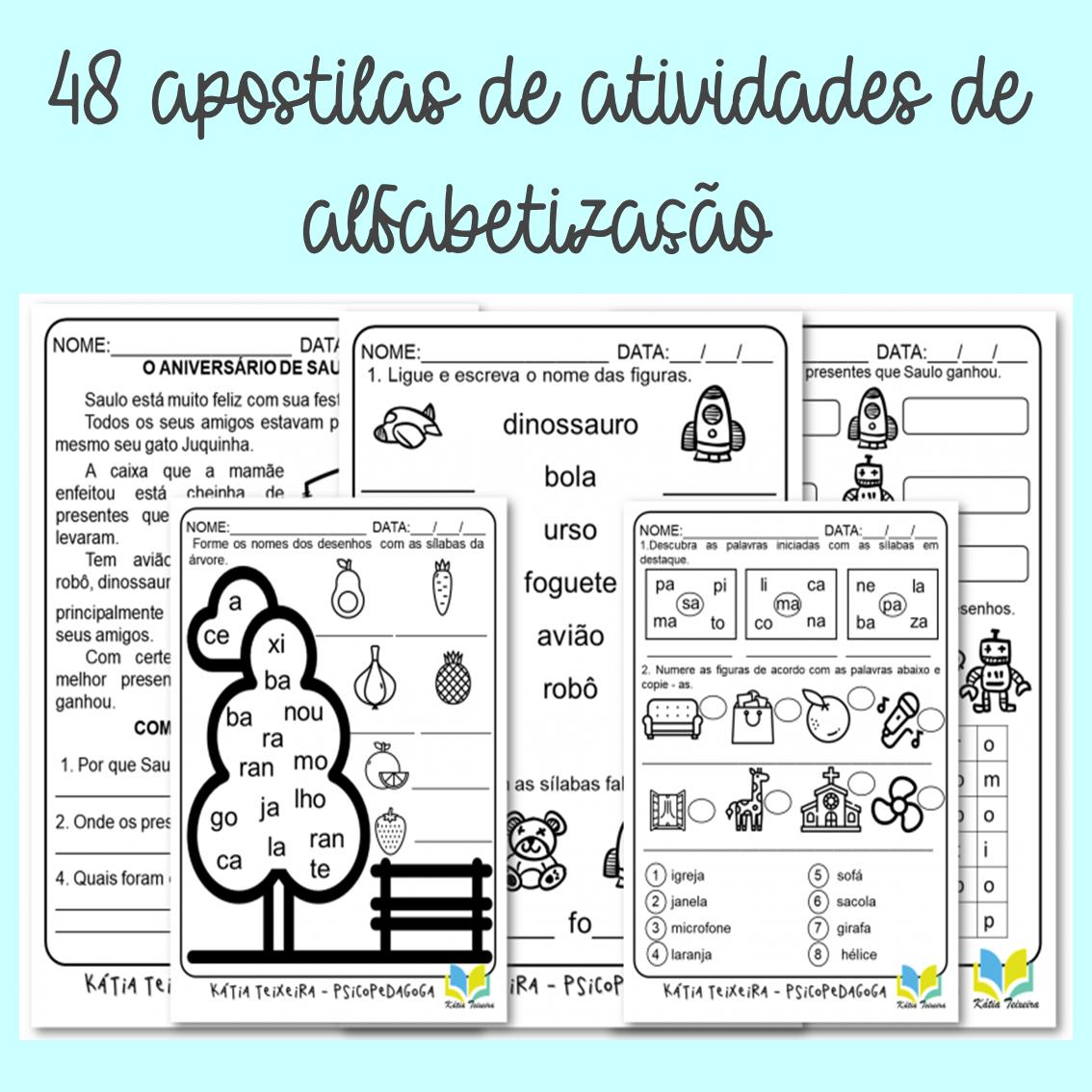 Foto 1 - 48 Apostilas de Atividades de Alfabetização: palavras geradoras, alfabetização, leitura e interpretação