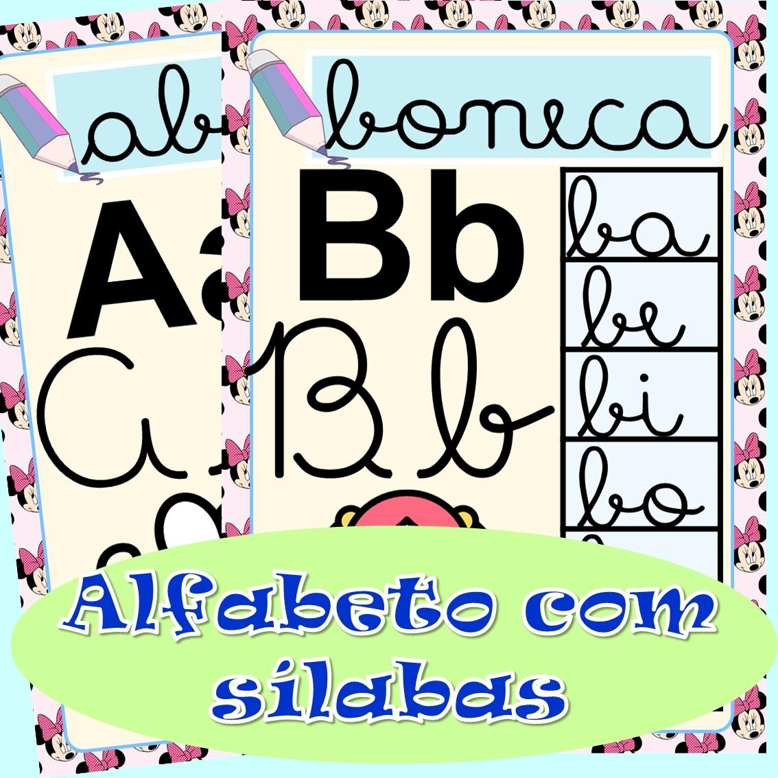 Foto 1 - Alfabeto para imprimir com sílabas letra cursiva Minnie Mouse