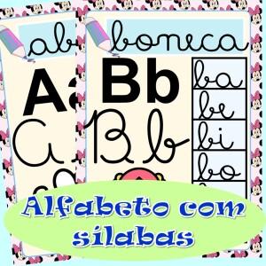 Foto1 - Alfabeto para imprimir com sílabas letra cursiva Minnie Mouse