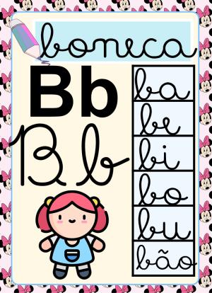 Foto3 - Alfabeto para imprimir com sílabas letra cursiva Minnie Mouse