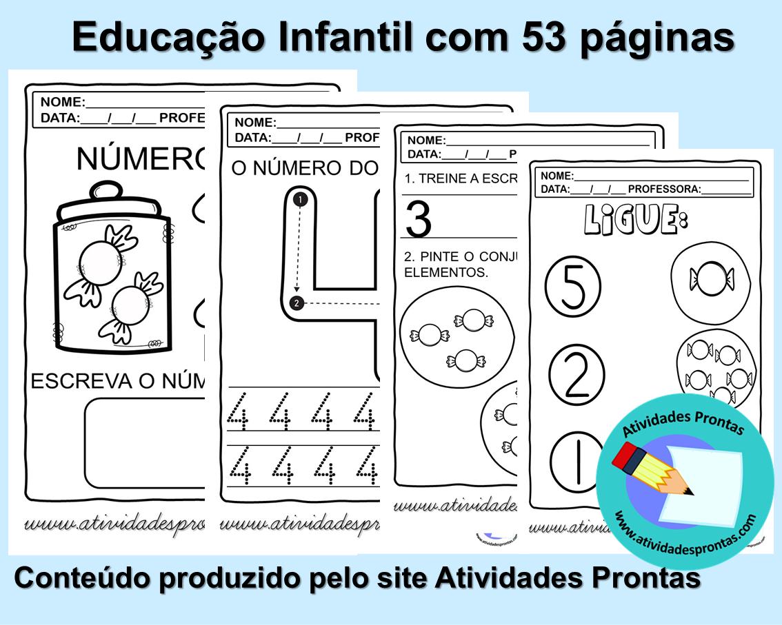 Foto 1 - Atividades de matemática para a educação infantil com 53 páginas em PDF