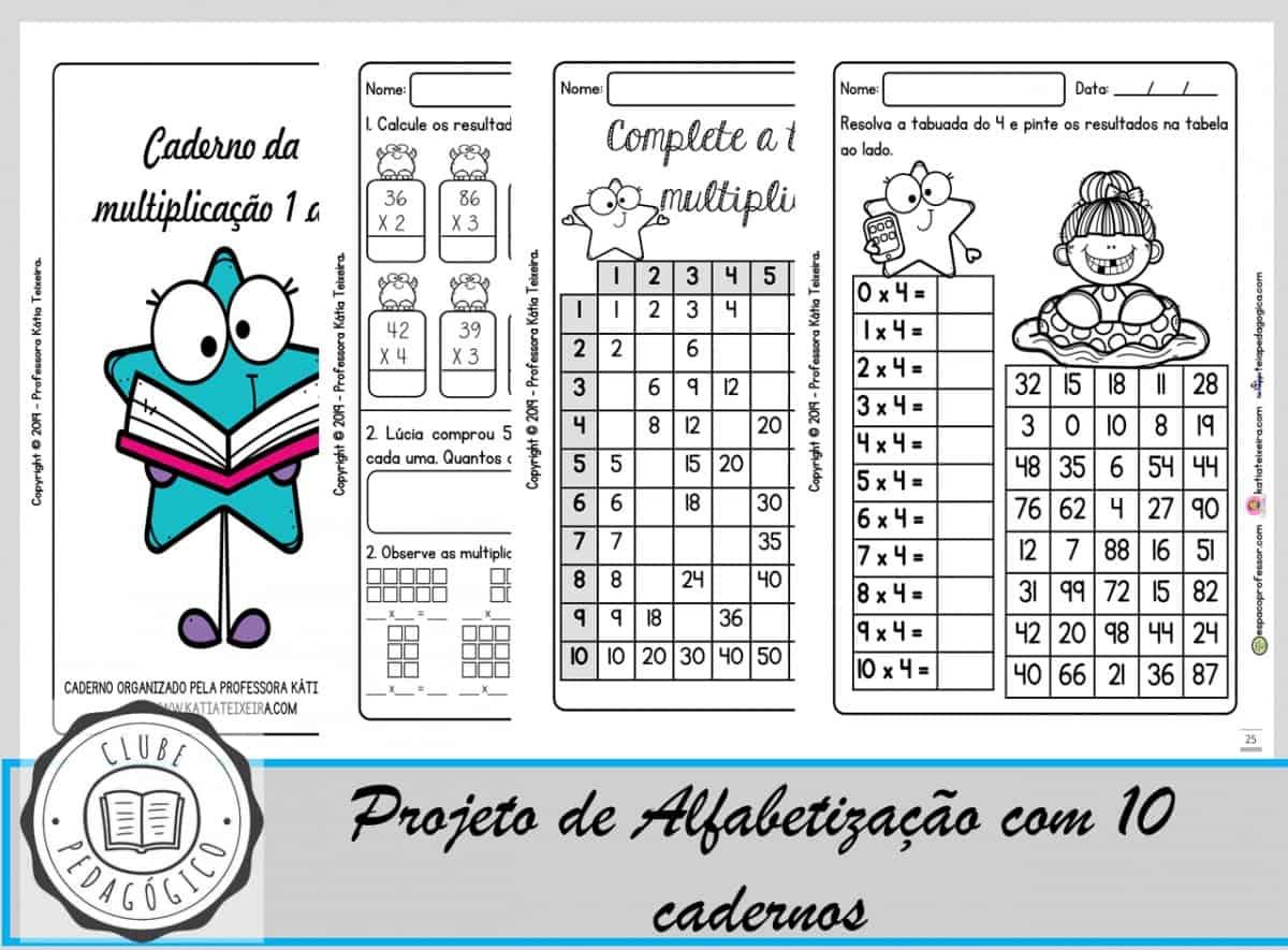 Foto 1 - Caderno de atividades de multiplicação de 1 a 9 com 35 páginas